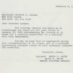 Letter: 1961 February 6