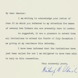 Letter: 1953 July 2