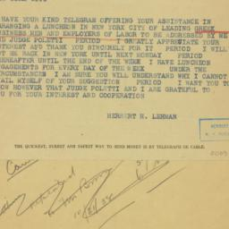 Telegram: 1938 October 24