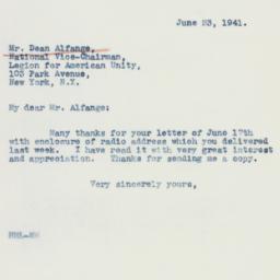 Letter: 1941 June 23