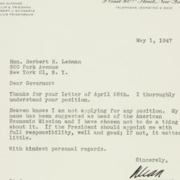 Letter : 1947 May 1