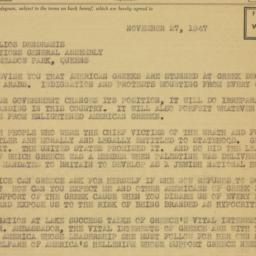 Telegram: 1947 November 27