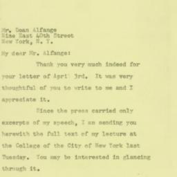 Letter: 1957 April 5