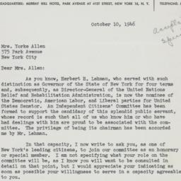 Letter: 1946 October 10
