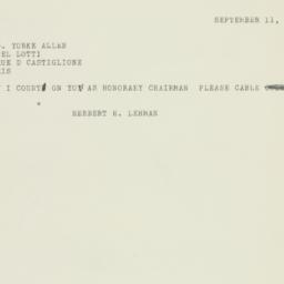Telegram: 1950 September 11