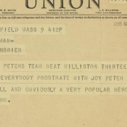 Telegram: 1935 November 9