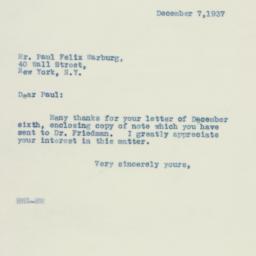 Letter: 1937 December 7