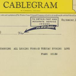 Telegram: 1958 September 10