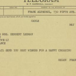 Telegram: 1959 May 26