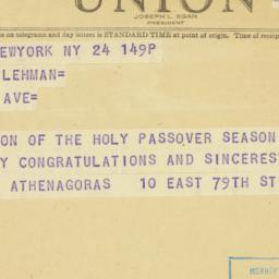 Telegram : 1948 April 24