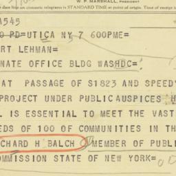 Telegram: 1956 May 7