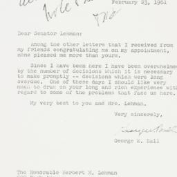 Letter : 1961 February 23