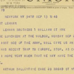 Telegram: 1948 September 13