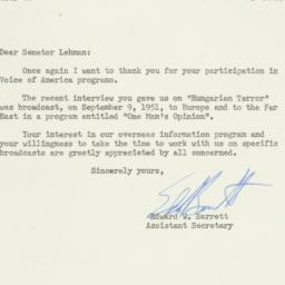 Letter: 1951 October 2
