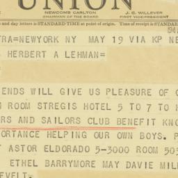Telegram : 1941 May 20