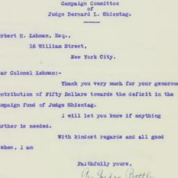 Letter: 1925 November 12