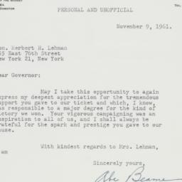 Letter : 1961 November 9