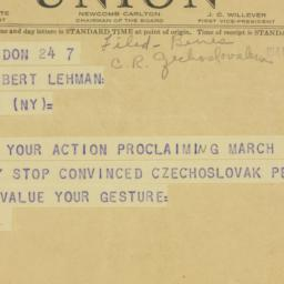 Telegram: 1941 March 7