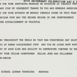 Telegram : 1958 April 27