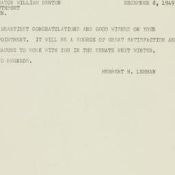 Telegram: 1949 December 8