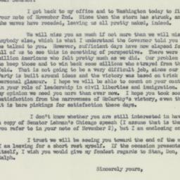 Letter: 1952 November 8