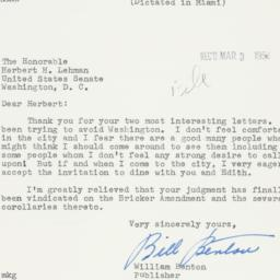 Letter: 1954 March 2