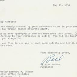 Letter: 1954 May 11