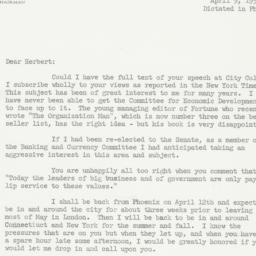 Letter: 1957 April 9