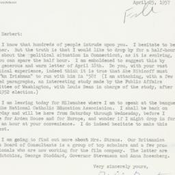 Letter: 1957 April 25