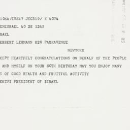 Telegram: 1958 March 28