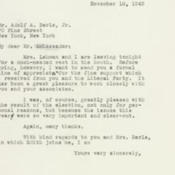 Letter : 1949 November 18