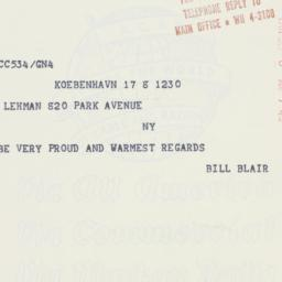 Telegram : 1961 September 8