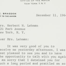 Letter : 1964 December 11