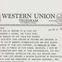 Telegram : 1963 March 27