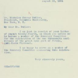 Letter: 1934 August 29