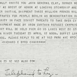 Telegram : 1950 April 21
