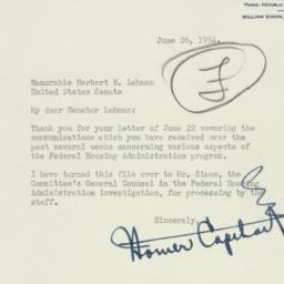 Letter: 1954 June 26
