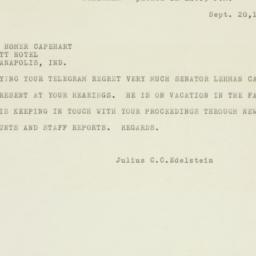 Telegram: 1954 September 20