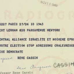 Telegram : 1959 November 11