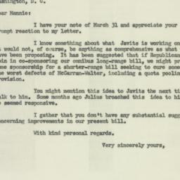 Letter : 1954 April 2