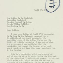 Letter: 1954 April 29