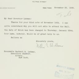 Letter : 1935 November 26