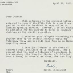 Letter : 1950 April 28