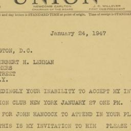 Telegram : 1947 January 24