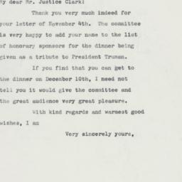 Letter: 1960 November 7