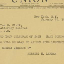 Telegram : 1947 January 25