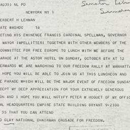 Telegram : 1950 October 2