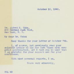 Letter : 1940 October 10