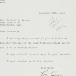 Letter : 1943 November 12
