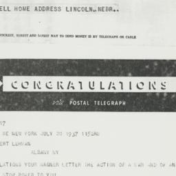 Telegram : 1937 July 20